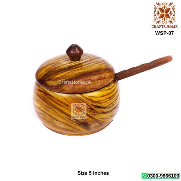 Wooden Sugar Pot Light Brown