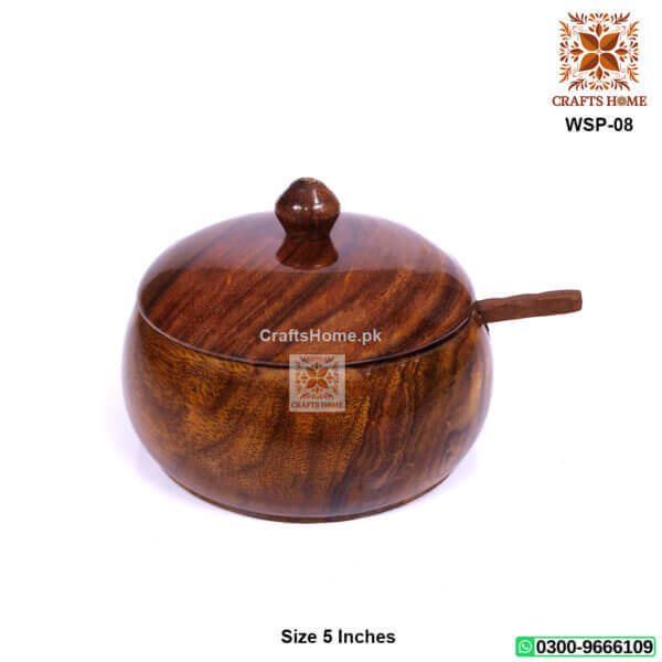 Wooden Sugar Pot Brown