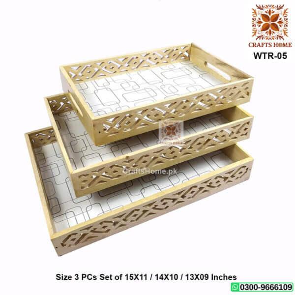 Wooden Jali Tray Set White 3 Pcs Set